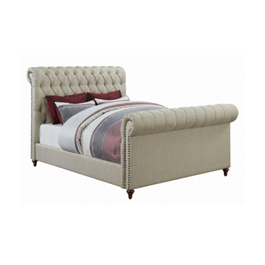 Gresham Eastern King Button Tufted Upholstered Bed Beige
