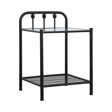 Livingston 1-shelf Nightstand with Glass Top Dark Bronze