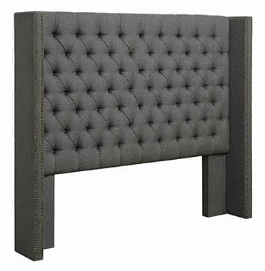Bancroft Demi-wing Upholstered Eastern King Bed Grey