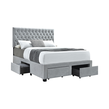 Shelburne Full 4-drawer Button Tufted Storage Bed Beige