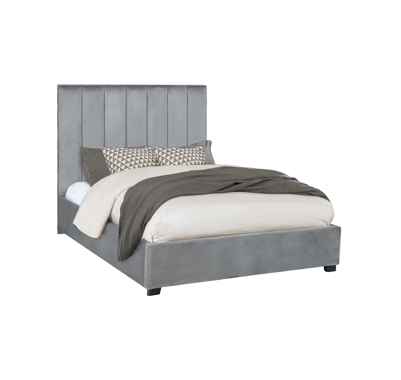 Arles Queen Vertical Channeled Tufted Bed Grey