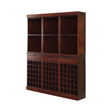 Wall Unit with Wine Rack Merlot