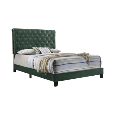 Warner Eastern King Upholstered Bed Green