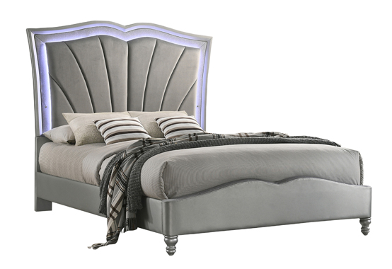 Bowfield Eastern King Upholstered Bed with LED Lighting Grey