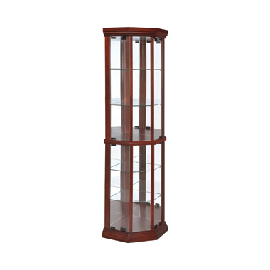 6-shelf Corner Curio Cabinet Medium Brown