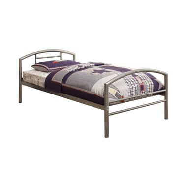 Baines Twin Metal Bed with Arched Headboard Silver