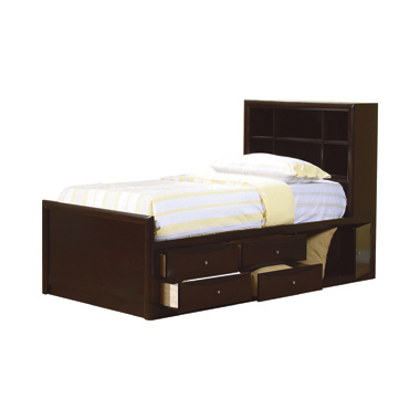Phoenix Twin Bookcase Bed with Underbed Storage Cappuccino