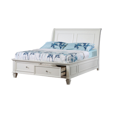 Selena Twin Sleigh Bed with Footboard Storage White
