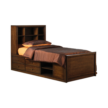 Hillary Twin Bookcase Bed with Underbed Storage Warm Brown