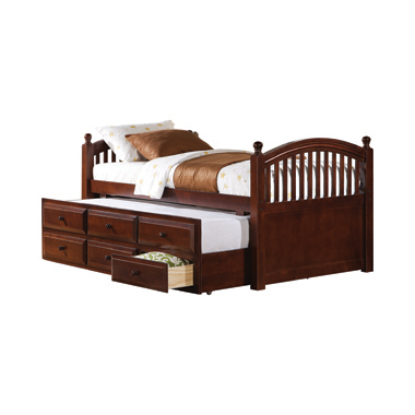 Twin Captain's Bed with Trundle and Drawers Chestnut