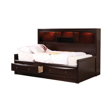 Phoenix Twin Daybed with Bookcase and Storage Drawers Cappuccino