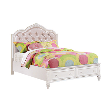Caroline Twin Upholstered Storage Bed Pink and White