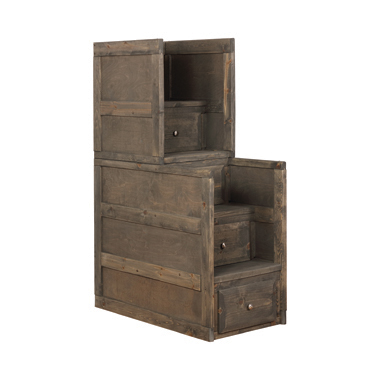Wrangle Hill 4-drawer Stairway Chest Gun Smoke