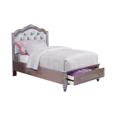 Caroline Twin Storage Bed Metallic Lilac and Grey