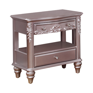 Caroline 2-drawer Rectangular Nightstand Metallic Lilac
