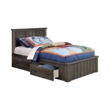 Napoleon Twin Platform Bed with Storage Drawers Gunsmoke
