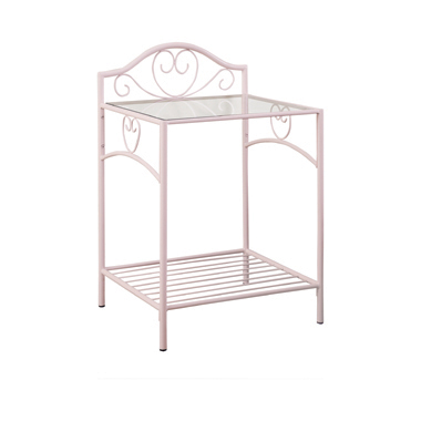 Massi 1-shelf Nightstand with Glass Top Powder Pink