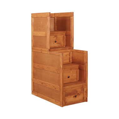 Wrangle Hill 4-drawer Stairway Chest Amber Wash