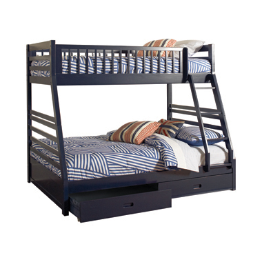 Ashton Twin over Full 2-drawer Bunk Bed Navy Blue