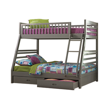 Ashton Twin over Full Bunk 2-drawer Bed Grey
