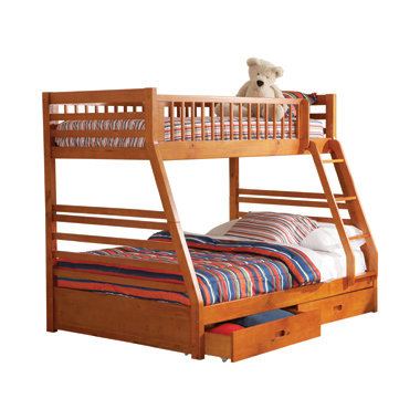 Ashton Twin over Full 2-drawer Bunk Bed Honey