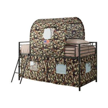 Camouflage Tent Loft Bed with Ladder Army Green