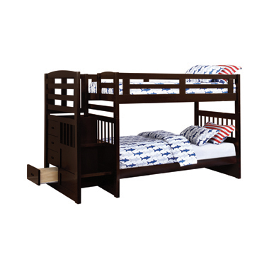 Dublin 4-storage Twin over Twin Bunk Bed with Staircase Cappuccino