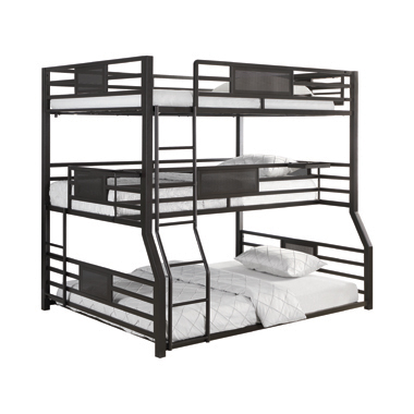 Rogen Fill/Twin Xl/Queen Triple Bunk Bed Dark Bronze