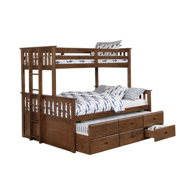 Atkin Twin Extra Long over Queen 3-drawer Bunk Bed Weathered Walnut
