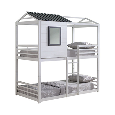 Belton House-themed Twin over Twin Bunk Bed White