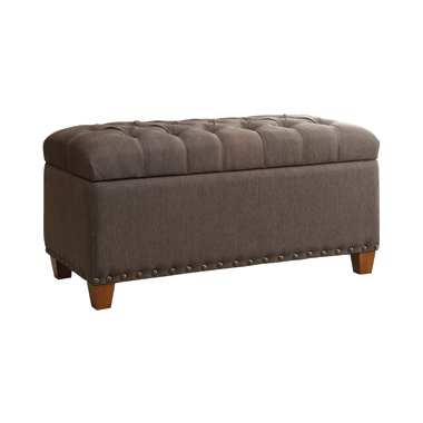 Tufted Storage Bench with Nailhead Trim Mocha
