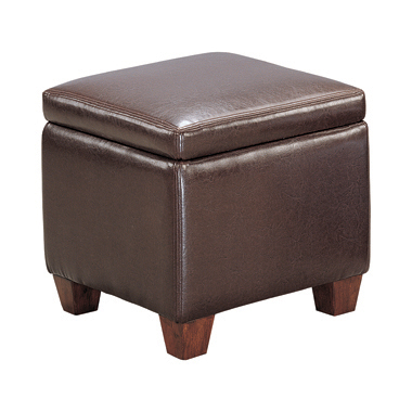 Cube Shaped Storage Ottoman Dark Brown