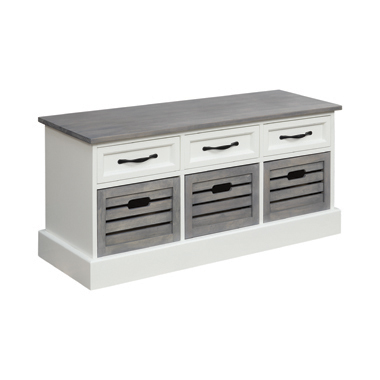 3-drawer Storage Bench White and Weathered Grey