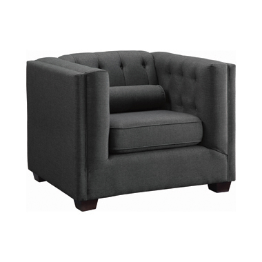 Cairns Tuxedo Arm Tufted Chair Charcoal