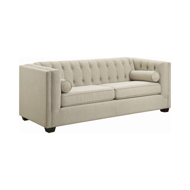 Cairns Tuxedo Arm Tufted Sofa Oatmeal