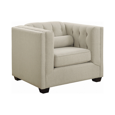 Cairns Tuxedo Arm Tufted Chair Oatmeal