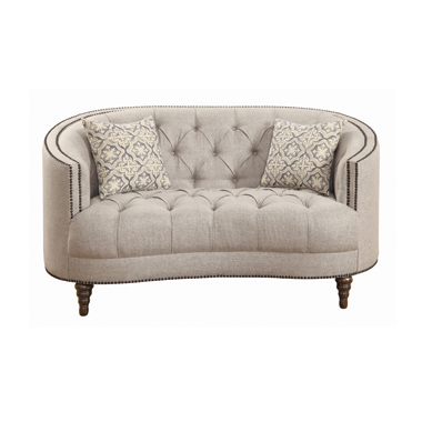 Avonlea Sloped Arm Upholstered Loveseat Trim Grey