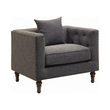 Ellery Tuxedo Arm Tufted Chair Grey