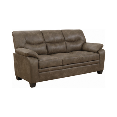 Meagan Upholstered Sofa Brown with Pillow Top Arms