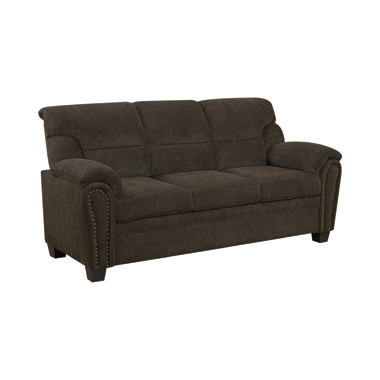 Clemintine Upholstered Sofa with Nailhead Trim Brown