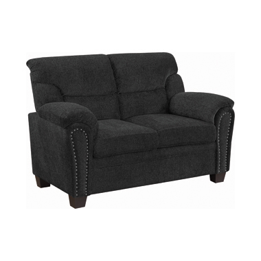 Clemintine Upholstered Loveseat with Nailhead Trim Graphite