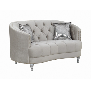 Avonlea Sloped Arm Tufted Loveseat Grey