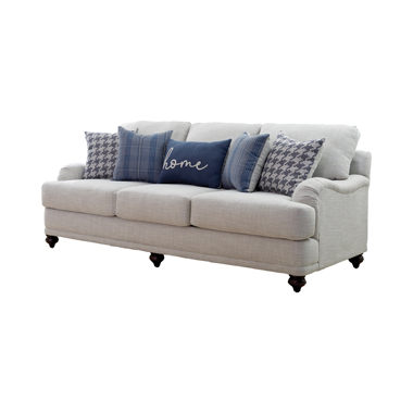 Gwen Recessed Arms Sofa Light Grey