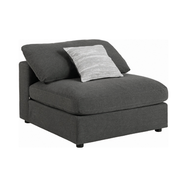 Serene Upholstered Armless Chair Charcoal