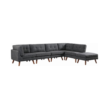 Churchill Tufted Cushion Back Corner Dark Grey and Walnut