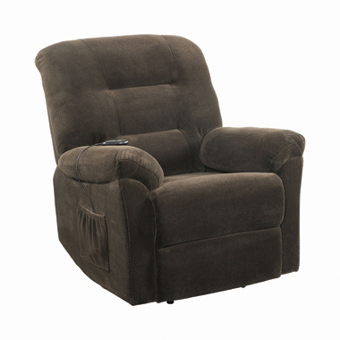 Upholstered Power Lift Recliner Chocolate