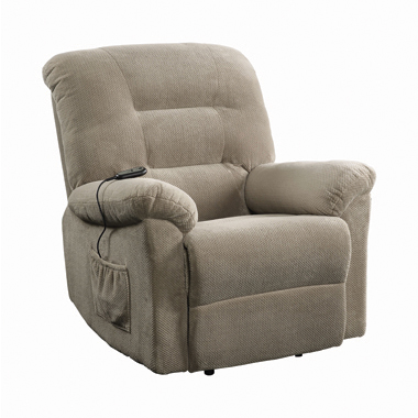 Upholstered Power Lift Recliner Beige