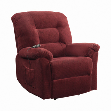 Upholstered Power Lift Recliner Brick Red