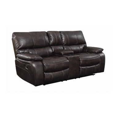 Willemse Motion Loveseat with Console Dark Brown