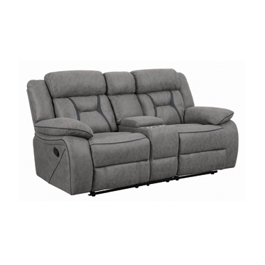 Higgins Pillow Top Arm Motion Loveseat with Console Grey